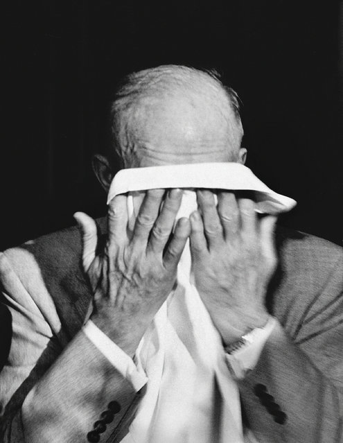 The cost of war. Dwight Eisenhower breaks down while addressing a WWII veterans group in 1952.