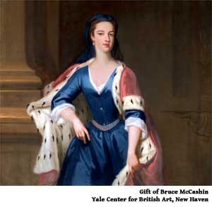Yale blueblood. Yale's daughter Ann (Lady Ann Cavendish), clothed in a forerunner of the University's official color, in a portrait by Jonathan Richardson the Elder c. 1725.