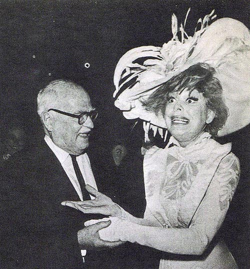 Carol Channing and Thornton Wilder backstage at Hello Dolly! production